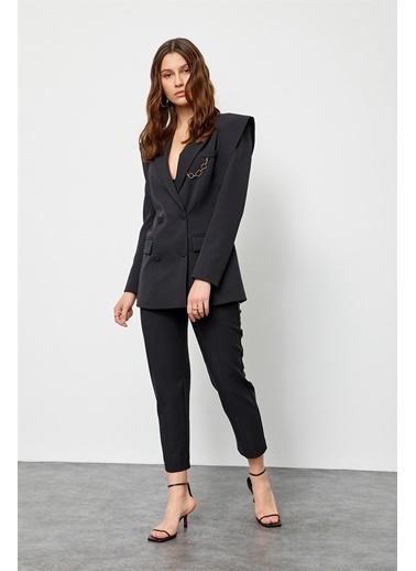 Setre Bebe Mavi Sivri Omuzlu Ceket Pantolon Takım Siyah